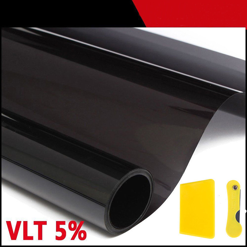 Car Window Tint Film 50cm*600cm Glass VTL 5% Roll Black For Car Side Window House Commercial Solar Protection Summer Car Sticker