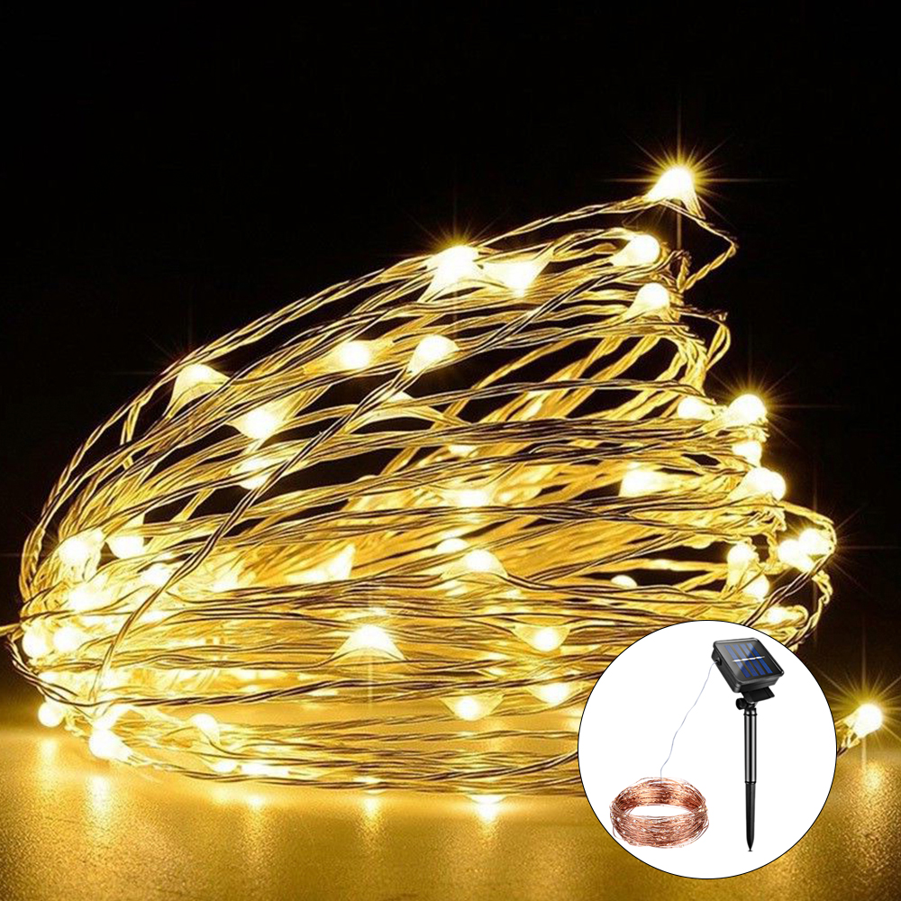 aliexpresscom buy foxanon lighting strings 10m 20m solar rechargeable led string light rgb copper fairy lights christmas decoration outdoor garden from