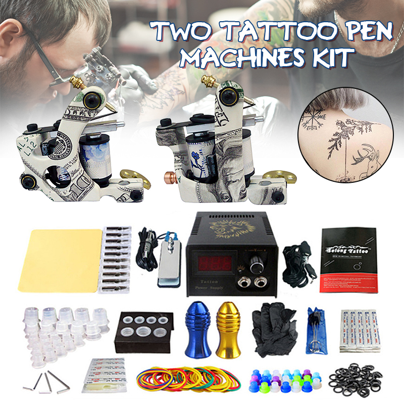 Professional Tattoo Coil Machine Kits Two Machines Completed Tattoo Power Supply Ink Kits Two Machines for Artist Tattoo Kit handmade tattoo machines