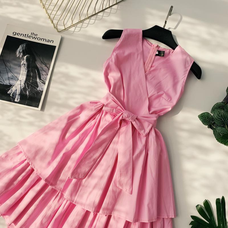 Korean Vintage Pure V Collar Sleeveless High Waist Bow Tie Double Ruffle Holiday Dress Women Vestidos E348 77