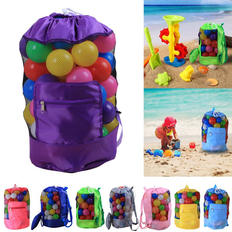 c623b4d66266 US $3.26 26% OFF|Beach toys grid storage bag Drawstring collection Beach  Storage Organizer Swim Pool Toys Storage Bags Toy Not Included-in Storage  ...