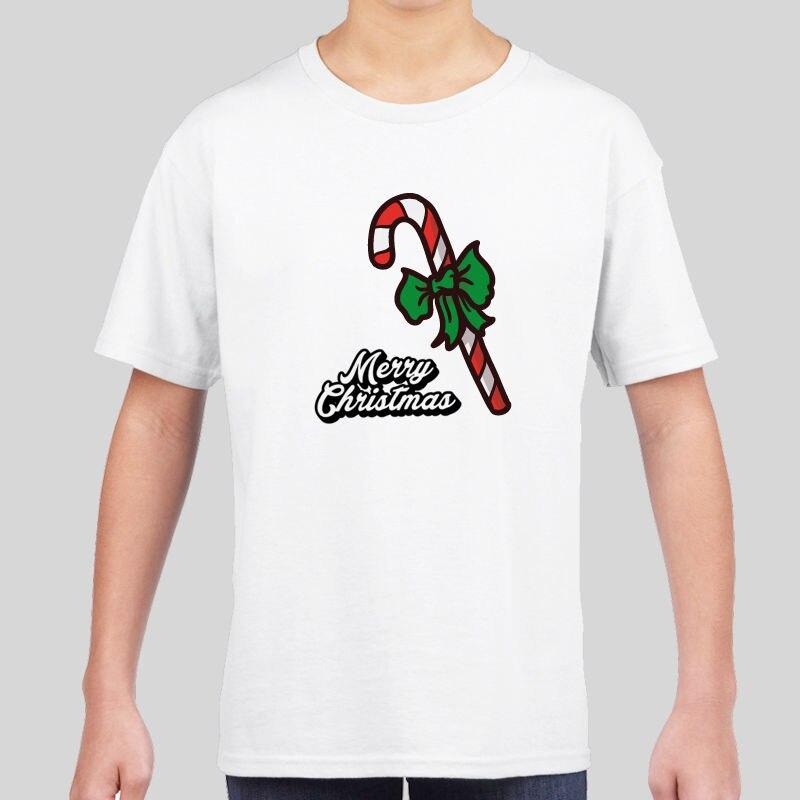 Kids Boys Girls Novelty Christmas Xmas T-shirt Top Festive Gift Merry Candy Stic Men T Shirt Print Cotton Short Sleeve T-shirt