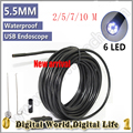 5.5mm Dia 2M 5M 7M 10M USB Endoscope mini Camera 6LED 720P Insepction Borescope  waterproof IP66 security camera