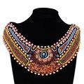 Мода ручной богемия цветные деревянные бусины биб большой себе огромный ожерелье