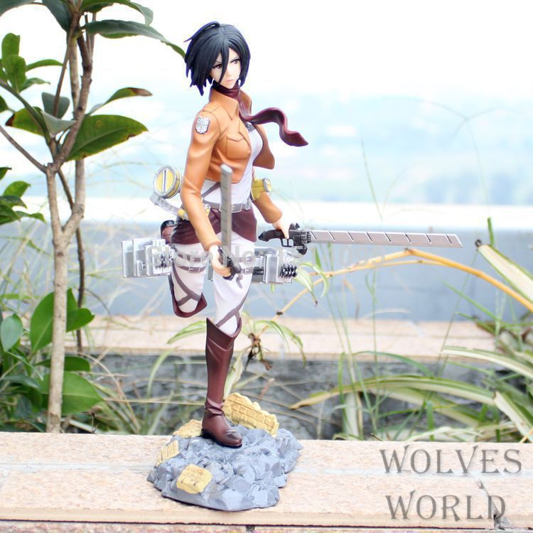 24CM  Attack on Titan Mikasa Ackerman PVC Action Figure Collection Model Toy AT011 attack on titan anime 17 cm mikasa ackerman battle version pvc anime figure collection doll model toy kids toys pm scene tw18