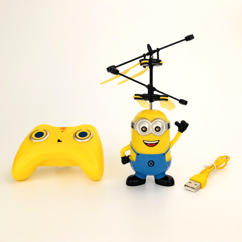 Official Authorized Minions Mini Drone Flight Balls Electronic Infrared Induction Aircraft Remote Control Toys for Children цена