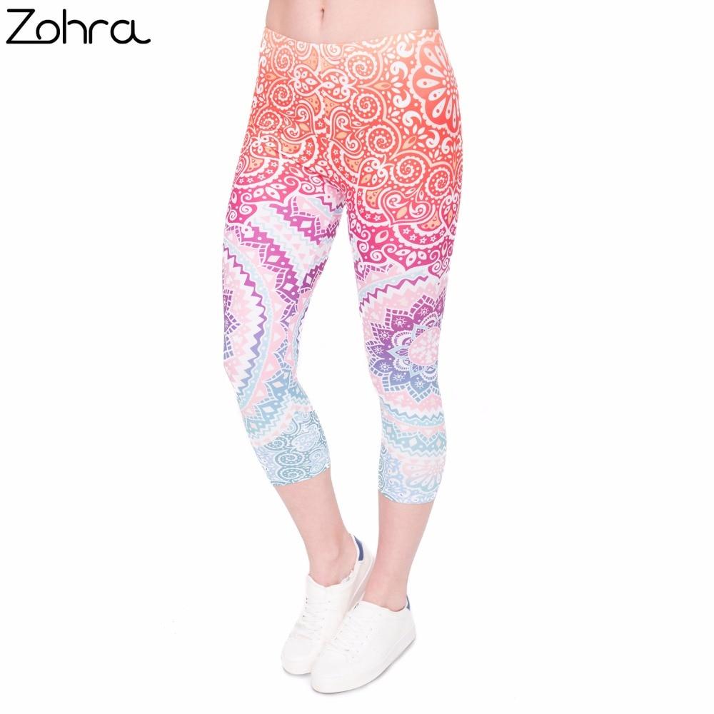 Zohra Women Capri Leggings Aztec-Round-Ombre Printing  Mid-Calf Fitness Movement Leggins Capri Pants