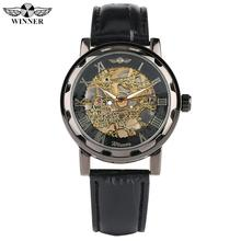 Luxury Mechanical Skeleton Watch for Men Gold Case Watch for Male Fashion Leather Strap Self-Winding Mechanical Watches for Boy купить недорого в Москве