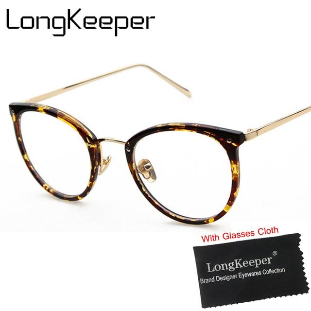 252cbede5d LongKeeper Fashion Women Clear Lens Eyewear Unisex Retro Clear Glasses Oval  Frame Metal Temples Eyeglasses P1127N