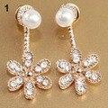 Women Korean Style Faux Pearl Ear Stud Rhinestone Crystal Flower Dangle Earrings 74MM