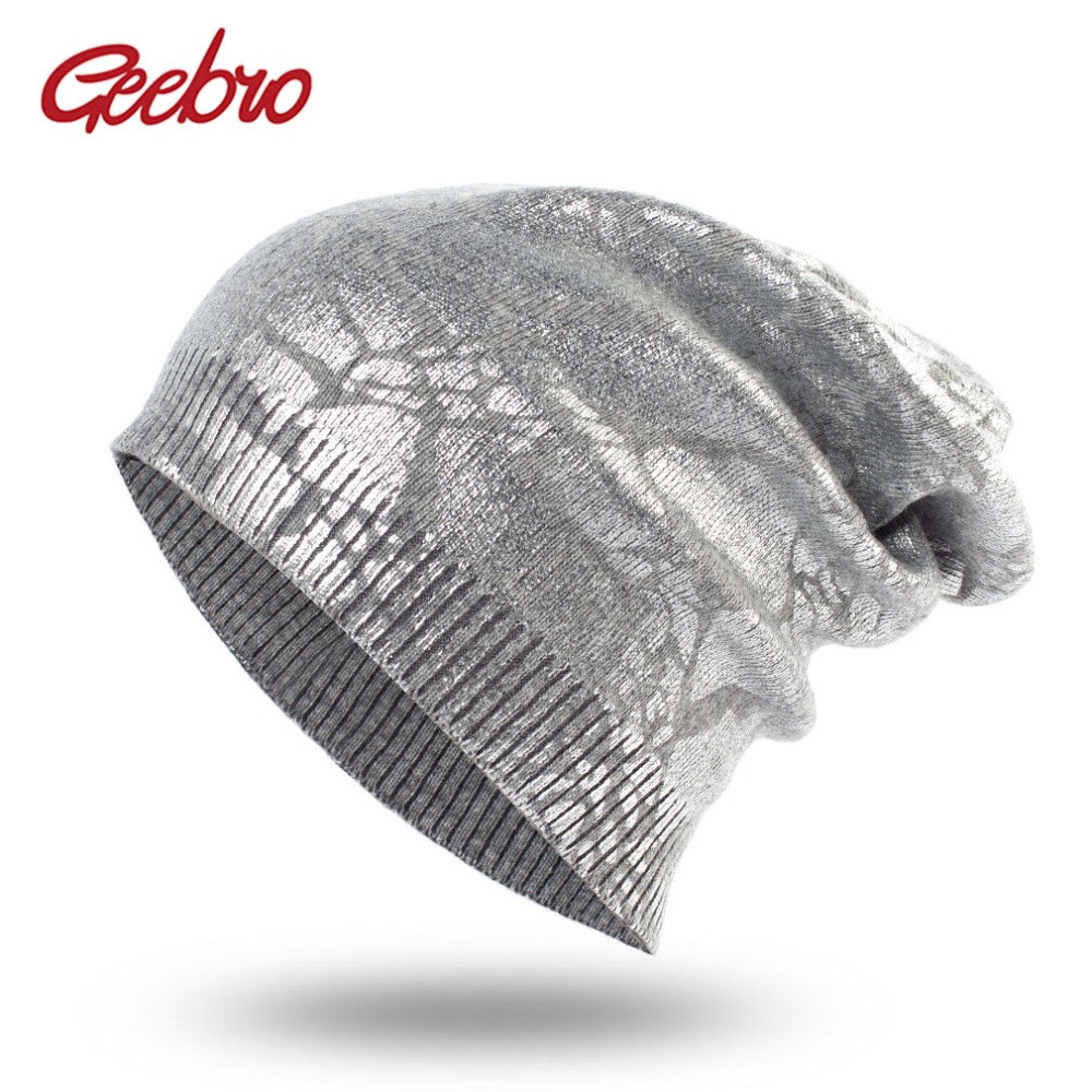 Geebro Womens Metallic Color Knit Cashmere Beanie Hat Spring Single layer Casual Slouchy Beanies for Women Bronzing Skull Cap