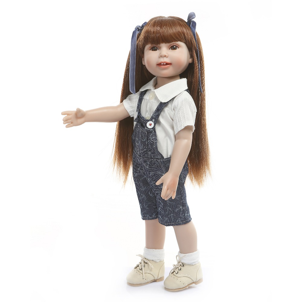 18inch American princess girl Full vinyl silicone jeans  modeling doll adorable kids accompanying babies doll brinquedos18inch American princess girl Full vinyl silicone jeans  modeling doll adorable kids accompanying babies doll brinquedos