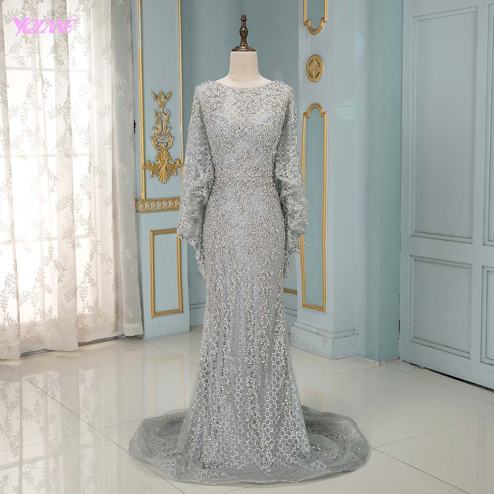 YQLNNE Couture Silver Rhinestones   Evening     Dresses   Long Mermaid Sparkly Beaded With Shawl Formal Gowns