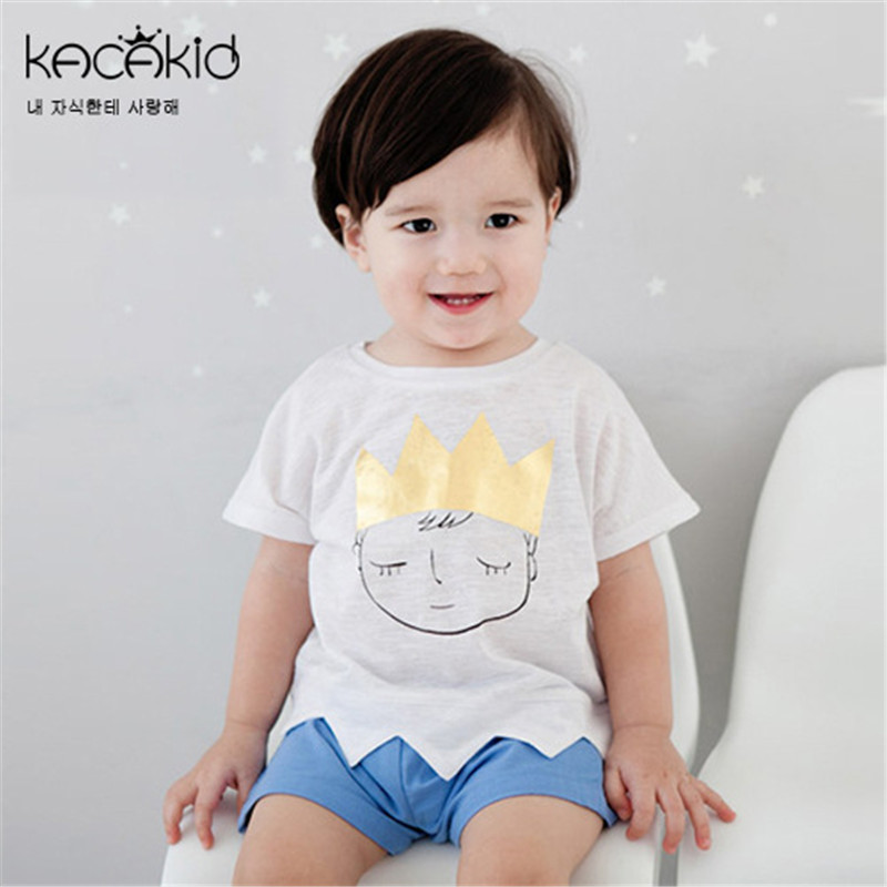 Hot Sale Newborn Baby Cute Clothes Sets for Boys Cartoon Cat T-Shirts Shorts Suit and Toddler Girls Tops Pants Overalls Costume