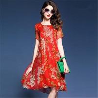 Elegant Floral Print Summer Dresses Short Sleeve O Neck High Quality Silk Dress Women Pleated Red Blue Vestidos Mujer Plus Size