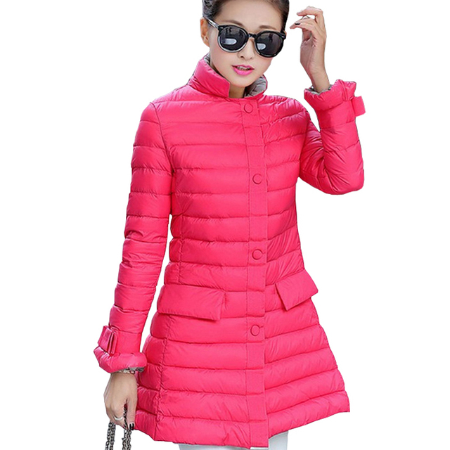 Mujeres Chaquetas de Invierno 2016 Delgado Largo Abrigo Para Niñas Otoño Parkas Damas Abrigos de Plumas Outwear Femenino
