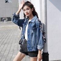 DoreenBow New Design Spring Autumn Lady Jeans Jacket Women Lace Up Cross Ribbon Denim Punk Style