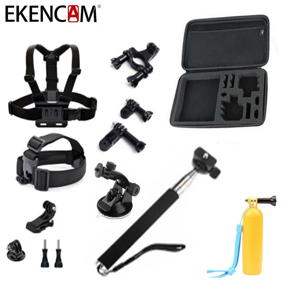 Galleria fotografica Sports Camera Accessories Set Kits for GoPro Hero 5 4 3 SJCAM Xiaomi Yi 4k Sony action camera Head Chest Strap Monopod