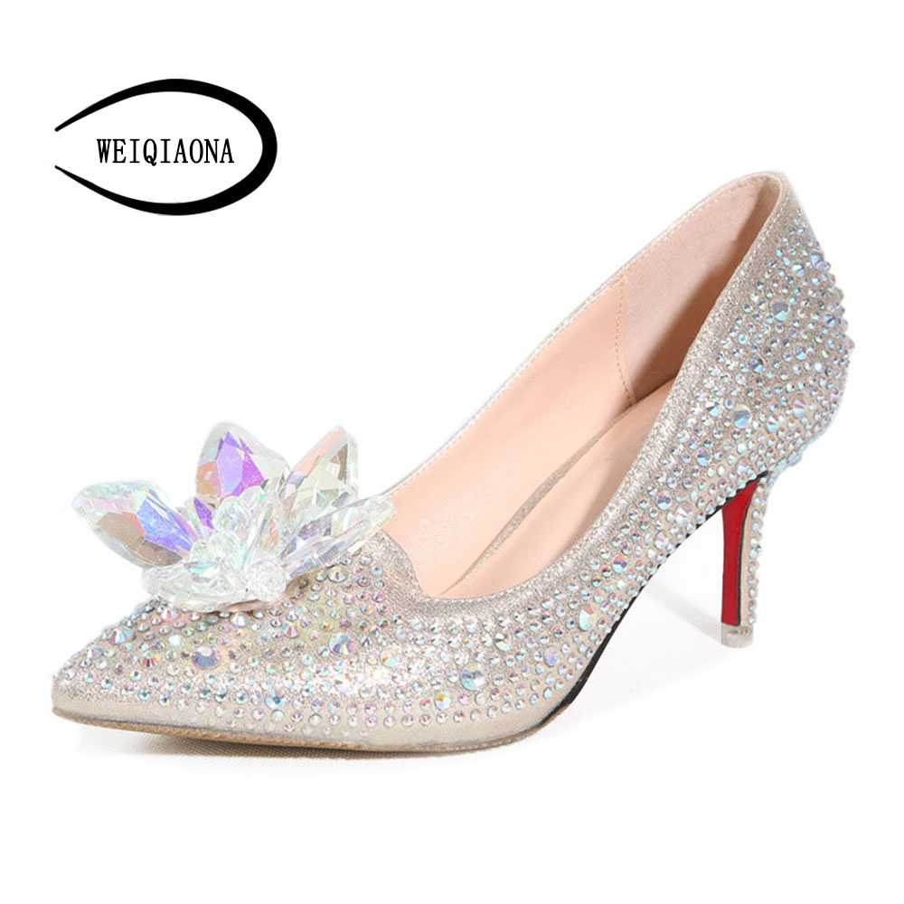 WEIQIAONA Cinderella glass Luxury crystal flowers high heels Women Pumps Pointed Toe Leather diamond wedding shoes Party shoes