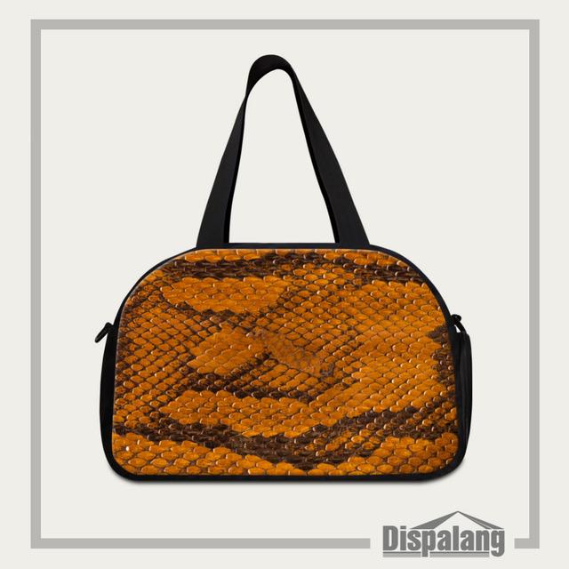 Homens viajam dispalang pele de cobra impressão mulheres de grande capacidade de bagagem duffle sacos de viagem bolsas de ombro saco de viagem à prova d' água
