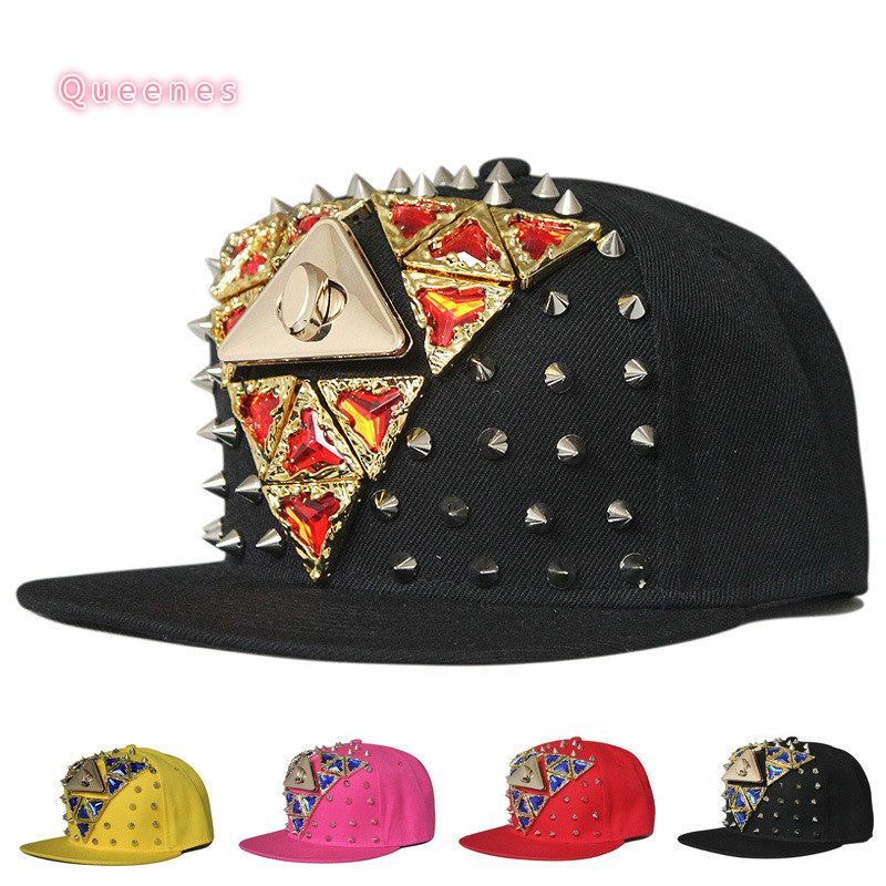 triangle diamond baseball font hat handmade rivet caps wholesale usa in fitted for babies