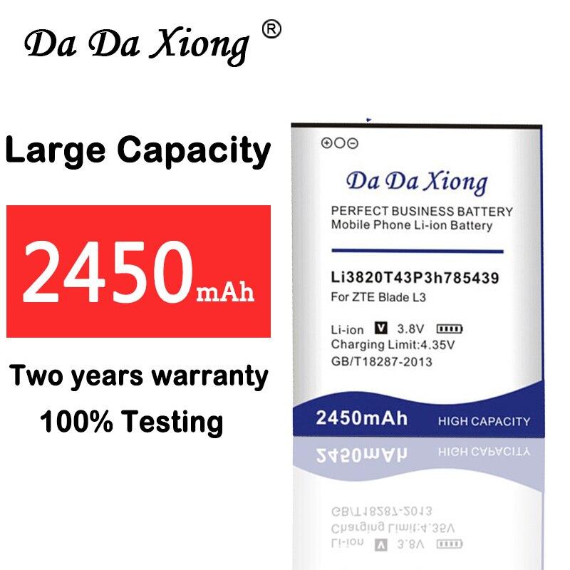 100% Neue Hohe Qualität 2450 Mah Li3820t43p3h785439 Batterie Für Zte Klinge L3 Batterie