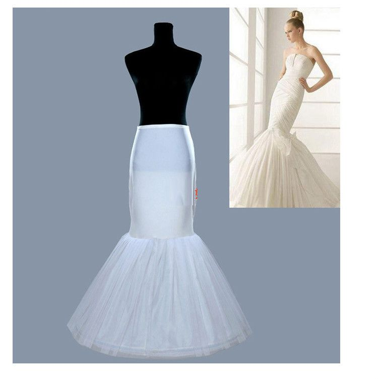 Big Fishtail Skirt 1 Hoop Wedding Petticoat Long Tulle Skirts Womens Underskirt For Wedding Dress White/Black
