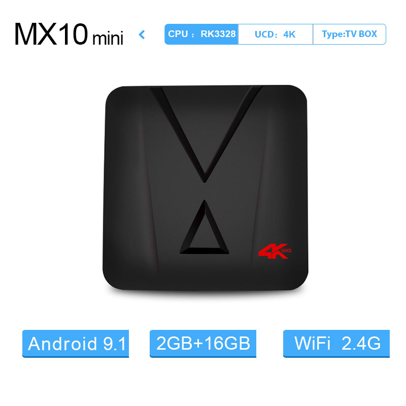 Android 9.0 smart Tv Box MX10mini 2G16G RK3328 Quad-Core 64bit Cortex-A53 4 k 2.4 GHz wifi sans fil souris youtube lecteur x96