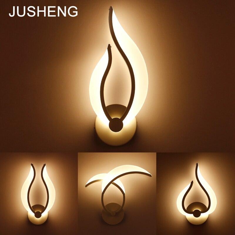JUSHENG modern deracotive wall lamp bedroom living room bathroom Acrylic lampshade 9W 110 220V AC