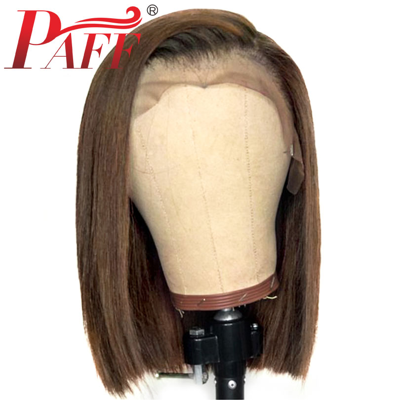 PAFF Short 13 3 Ombre Lace Front Human Hair Bob Wigs Pre Plucked Straight Brazilian Remy