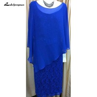 Long Blue Sheath Mother of the Bride Dresses for Wedding Evening Groom Godmother Dresses