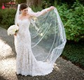 One Layer Full Edge with Lace Wedding Veil With Comb White Ivory Red Black 2 Meters  Long Bridal Veils Velos De Novia
