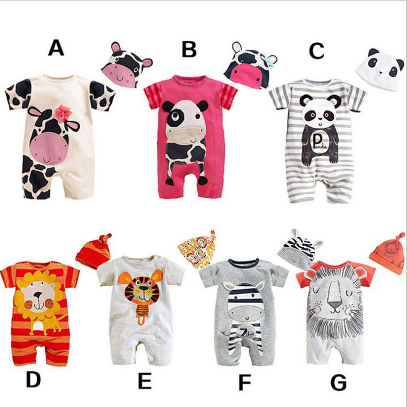 newborn baby boy clothes cute animal cow panda lion tiger zebra print one piece jumpsuit+hat infant clothing outfit for 0-12m brand infants costume series animal clothing set lion monster owl cow clasp elephant kangroo baby cosplay cute free shipping