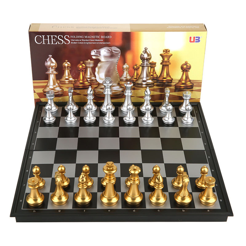 Super Big Home International Chess Set Magnetic Foldable Board With Golden Silver 32 Chess Pieces 36x36x2/32x32x2cm
