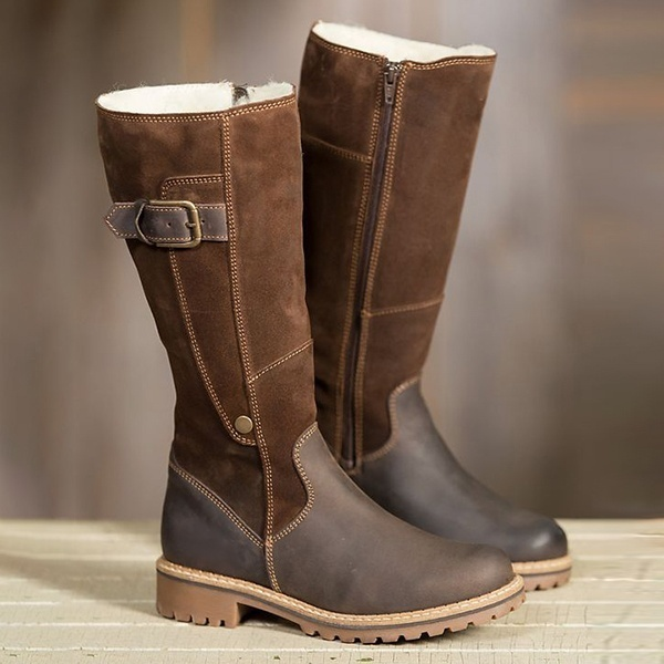 Warm Ladies Snow Boots High Boots Leather Martin Boots Winter Flats Boots Plus Size DB007
