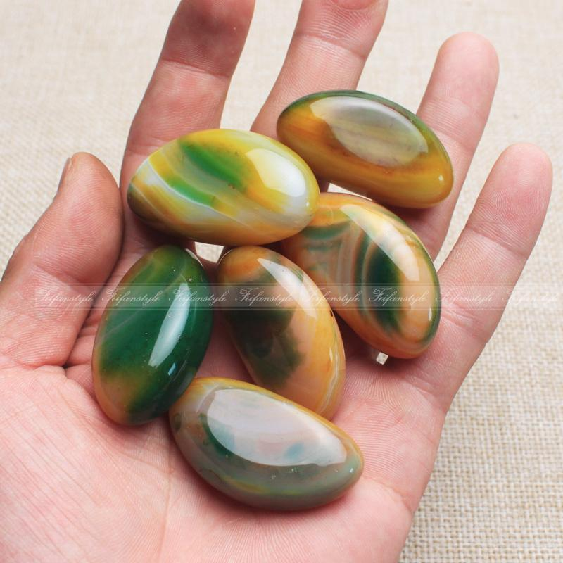 Exquisite Pretty 2pcs natural Oval Multi-color Onyx Agate Cab Cabochon F472 Free shipping