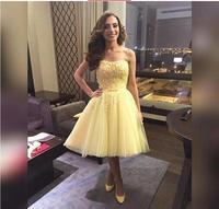 2018 желтое Тюлевое платье трапециевидной формы для выпускного вечера с аппликацией в виде сердца, длиной до колена, с открытыми плечами, вече