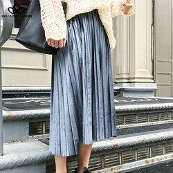 Женская длинная юбка Bella Philosophy, винтажная плиссированная бархатная юбка с высокой талией до середины икры размера плюс S-6XL