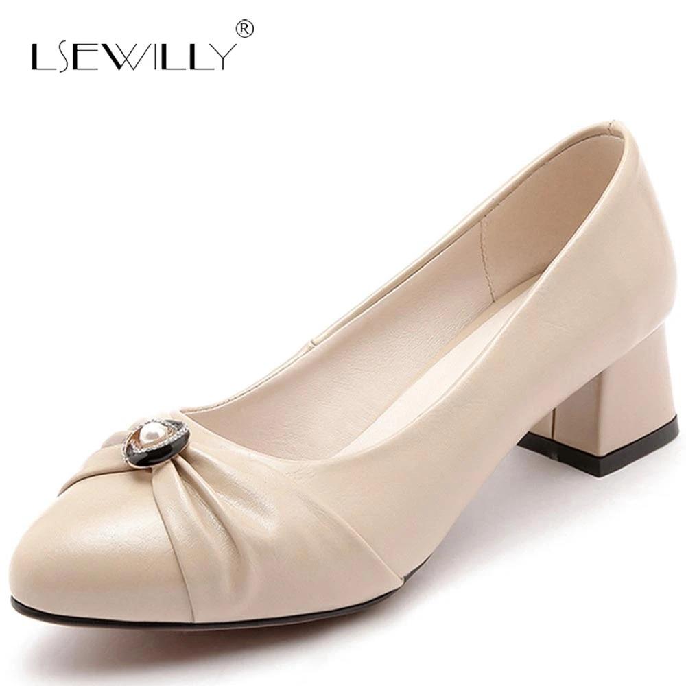 Zapatos Lseilly Para Mujer Tacones Medios Zapatos De Fiesta Con Punta Estrecha Tacones Gruesos Zapatos Elegantes Para Mujer Tallas Grandes 34 47 S416 Zapatos De Tacon De Mujer Aliexpress