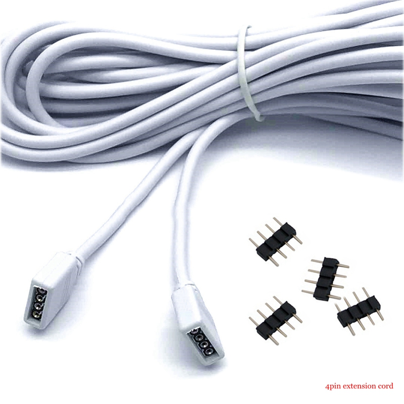 4 Pin <font><b>RGB</b></font> LED Strip <font><b>Cable</b></font> Connector Extension Round Wire 1M 2M 3M 5M 10M Long Connector For 3528 2835 5050 <font><b>RGB</b></font> Tape image
