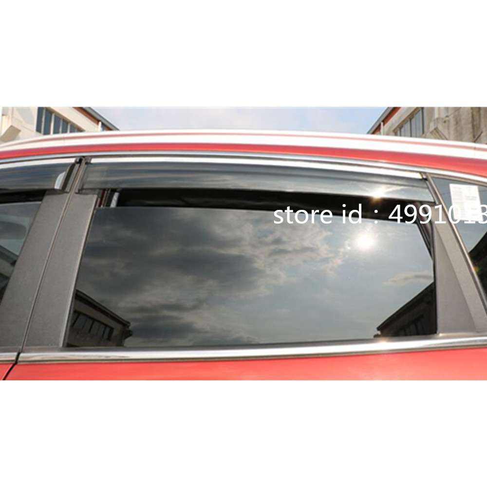 Image 3 - Car sticker Window glass Wind Visor Rain Sun Guard Vent word frame trim lamp 4pcs for Suzuki Vitara 2016 2017 2018-in Awnings & Shelters from Automobiles & Motorcycles