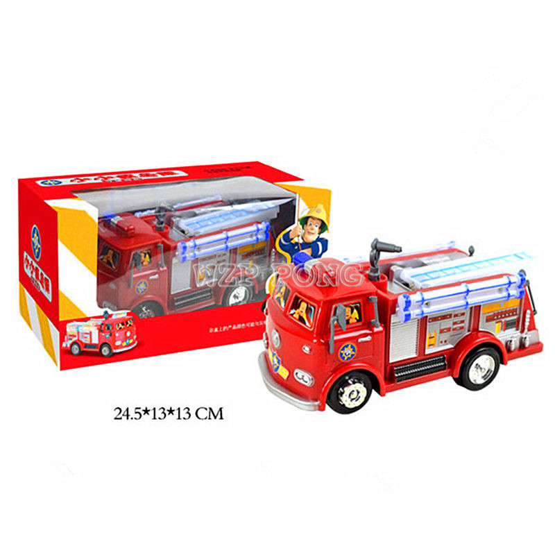 FIREMAN SAM Toy Truck Fire Truck Car With Music+LED Boy Toy Educational Electronic Toys Color Box