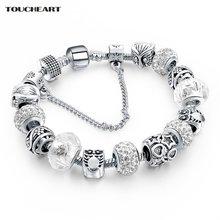Женский винтажный браслет с подвесками и кристаллами