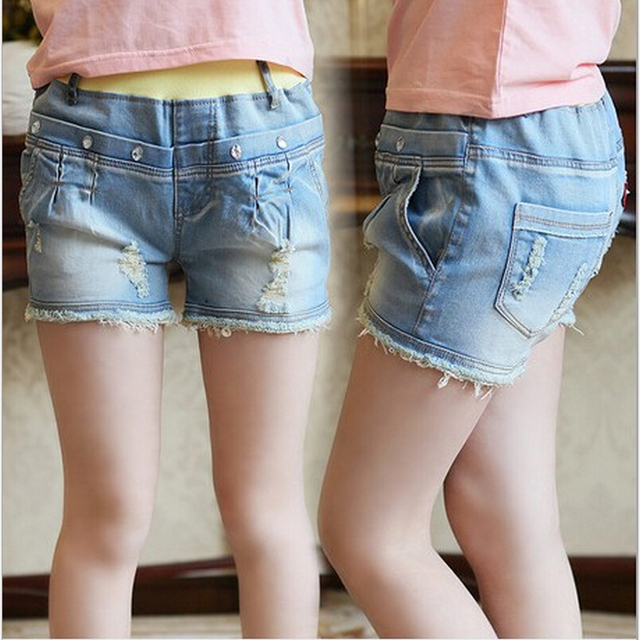 d9409778a 2015 new Summer Children's Clothing Child Light Color Water Wash Shorts  Girls Washing Denim Short Jeans girl Children Pants