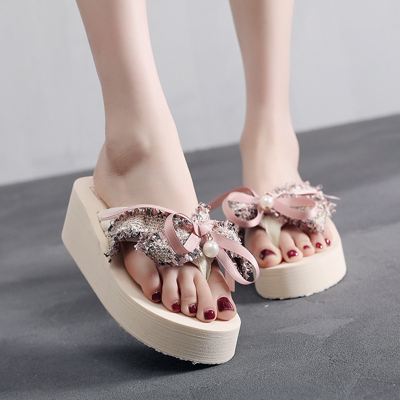 Bohemia New Bow Flower Slides Women Sandals Wedge Platform High Heel Slippers Outdoor Summer Sandal Shoes Handmade Female ShoesBohemia New Bow Flower Slides Women Sandals Wedge Platform High Heel Slippers Outdoor Summer Sandal Shoes Handmade Female Shoes