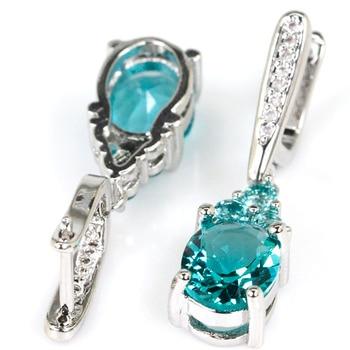 Stunning Rich Blue Aquamarine White CZ Ladies Gift 925 Silver Earrings 32x8mm 1