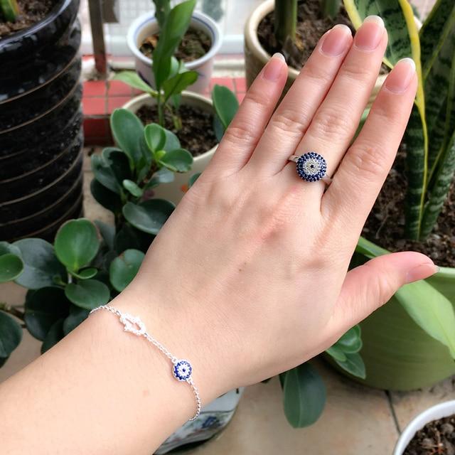 Turkey Evil Blue Eye Ring 925 Sterling Silver Lucky Eye Blue Clear CZ Stone  Arabic Jewish Islamic Greek Jewelry a0d431b16a0a