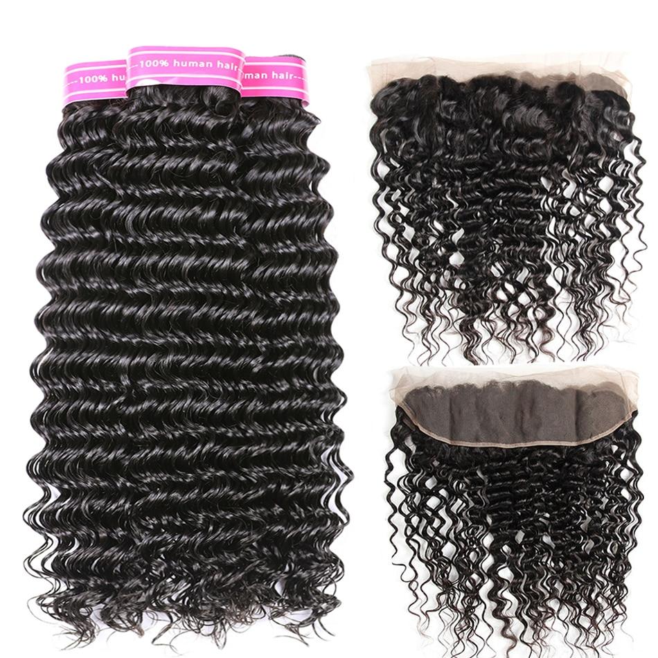 Brasilianska djupa vågknippen med främre mänskliga hår 4 buntar - Mänskligt hår (svart)