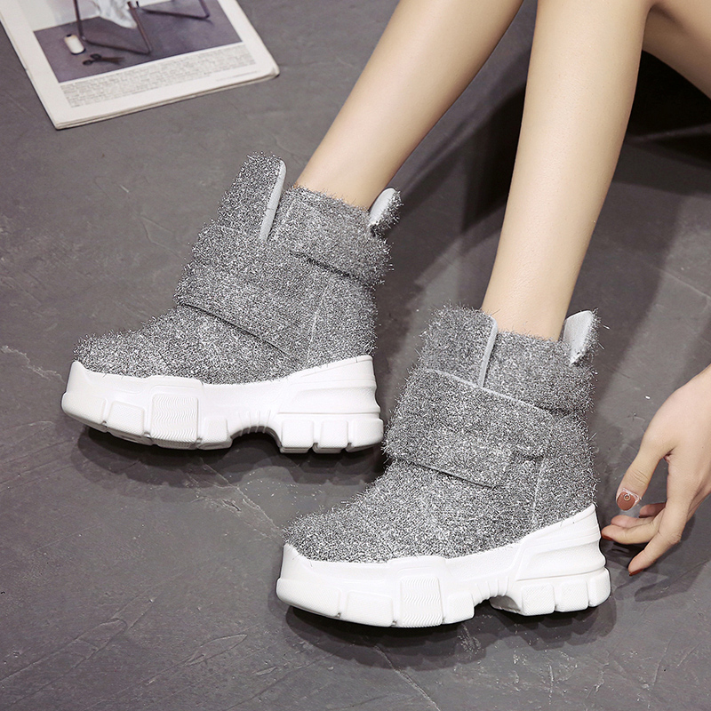 Image 4 - 2019 Women Winter Ankle Boots Wedge Platform Sneakers Woman Boots 10CM Height Increaseing High Top Shoes Autumn Botas Feminina-in Ankle Boots from Shoes