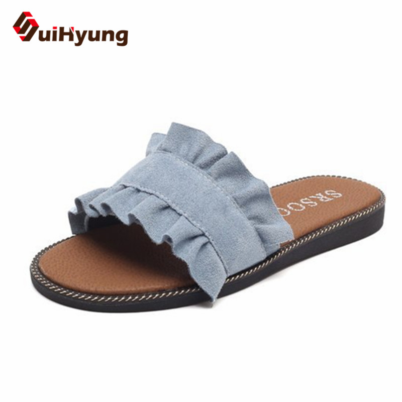 Suihyung New Women's Summer Slippers Fashion Ruffles PU Leather Flat Beach Slippers Flip Flops Non-slip Female Slippers Sandals new arrival summer men sandals leisure solid waterproof male outdoors slippers pu leather fashion slip on sandals w1 35